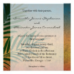 Tropical Sunset Palm Fronds Personalized Invitation
