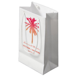 Tropical Sunset Palm Tree Beach Wedding Favor Small Gift Bag