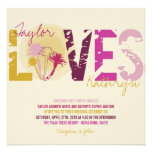 Tropical Sunset Palm Trees Beach Summer Wedding Personalized Invitations