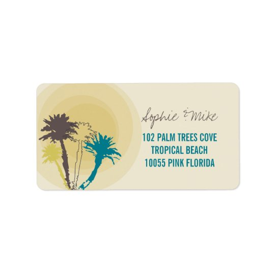 Tropical Sunset Palm Trees Beach Wedding Labels