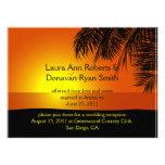 Tropical Sunset Palm Trees Post Wedding Invitation