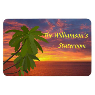Tropical Sunset Personalzied Cruise Door Marker Rectangular Photo Magnet