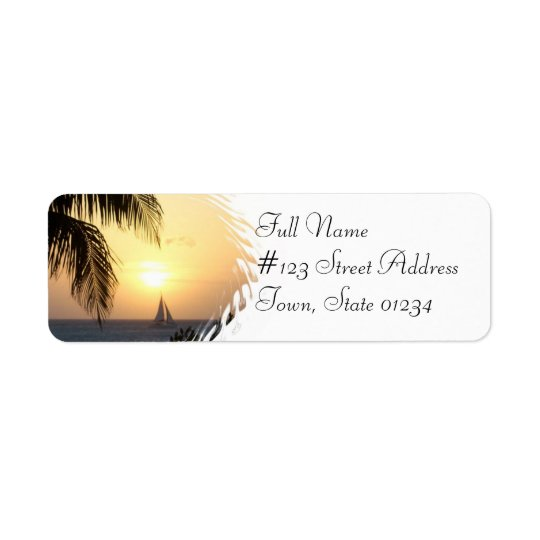 Tropical Sunset Sail Return Address Label