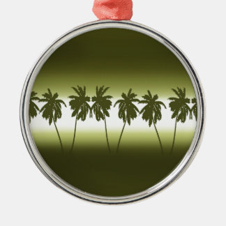 Tropical sunset Silver-Colored round decoration