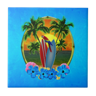 Tropical Sunset Small Square Tile