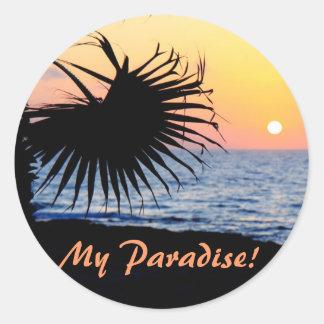 Tropical Sunset Round Sticker