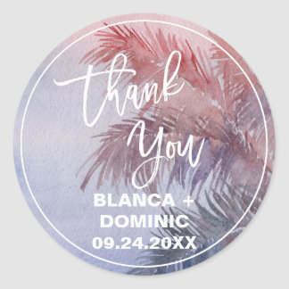 Tropical Sunset Thank You Favor Classic Round Sticker