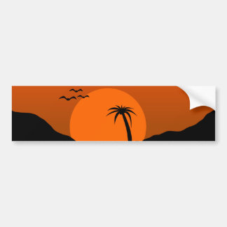 Tropical Sunset Water Scene Landscape Bumper Sticker