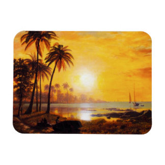 Tropical Sunset with Fishing Boats Magnet