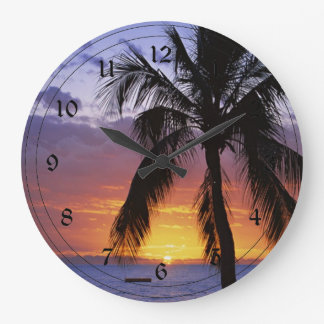 Tropical Sunset with Palm Tree Large Clock
