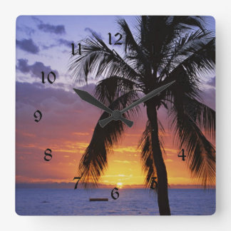 Tropical Sunset with Palm Tree Square Wall Clock