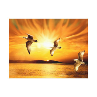 Tropical Sunset with Seagulls Gallery Wrap Canvas