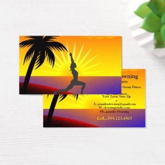 Tropical Sunset with Silhouette Yoga Pose Business Card