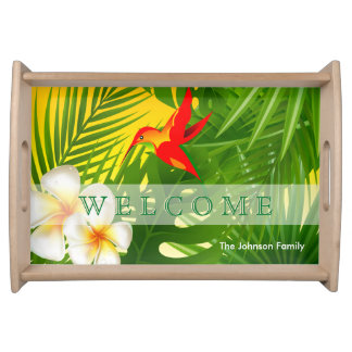 Tropical Sunshine with a Hummingbird Serving Tray