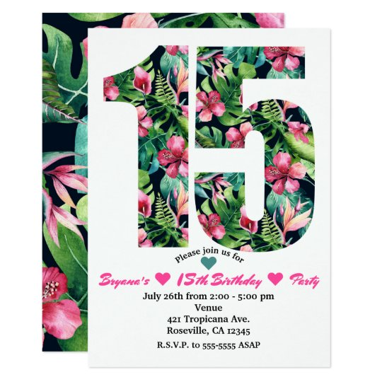 Tropical Sweet 15 15th Birthday Party Invitation