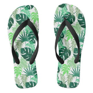 Tropical Swiss cheese plants (leaves) Flip Flops