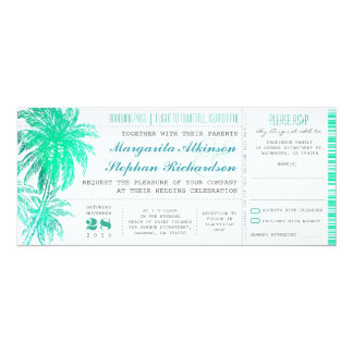 Tropical teal beach wedding tickets -boarding pass 10 cm x 24 cm invitation card