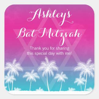 Tropical Teal Blue Pink Bat Mitzvah Square Sticker