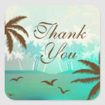 Tropical Teal Scenic Beach Thank You Sticker
