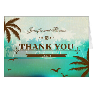 Tropical Teal Scenic Beach Wedding Thank You Card