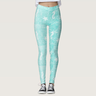 Tropical Teal Seahorse and Starfish Leggings