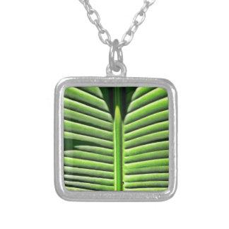 Tropical texture square pendant necklace
