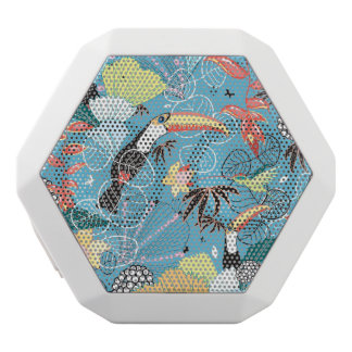 Tropical Texture With Toucans and Hummingbirds White Boombot Rex Bluetooth Speaker