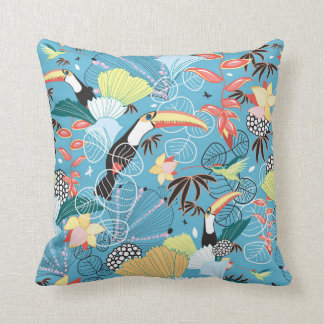 Tropical Texture With Toucans and Hummingbirds Cushion