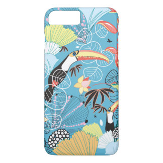 Tropical Texture With Toucans and Hummingbirds iPhone 8 Plus/7 Plus Case