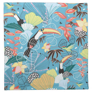 Tropical Texture With Toucans and Hummingbirds Napkin