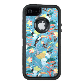 Tropical Texture With Toucans and Hummingbirds OtterBox Defender iPhone Case