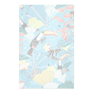 Tropical Texture With Toucans and Hummingbirds Stationery