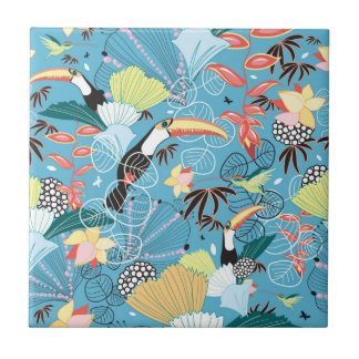 Tropical Texture With Toucans and Hummingbirds Tile