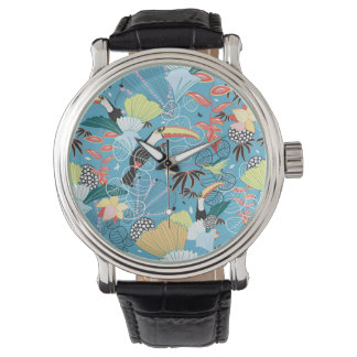 Tropical Texture With Toucans and Hummingbirds Watch