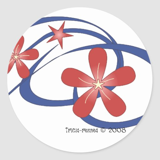 Tropical Theme 4th of July Sticker