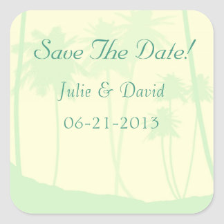 Tropical Theme Wedding Save The Date Square Sticker