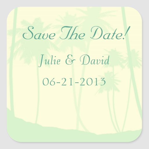 Tropical Theme Wedding Save The Date Square Stickers