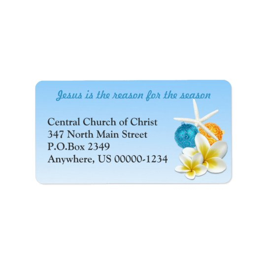 Tropical Themed Christian Church Address Labels