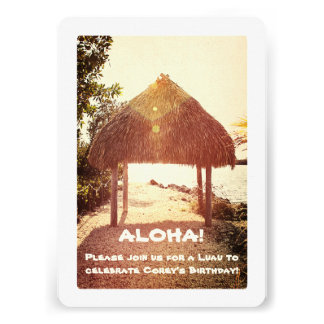 Tropical Tiki Hut Party Personalized Invitations