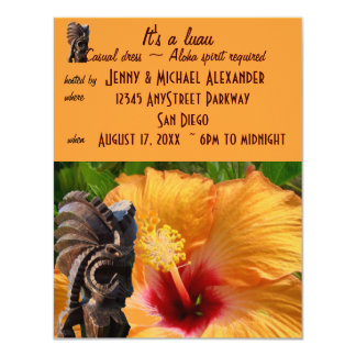 Tropical Tiki Luau Party 11 Cm X 14 Cm Invitation Card