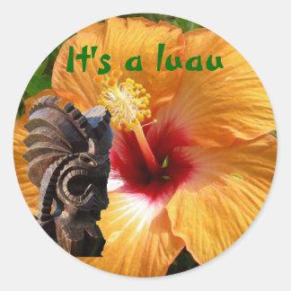 Tropical Tiki Luau Round Sticker