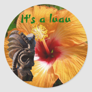 Tropical Tiki Luau Classic Round Sticker