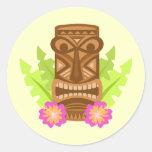 Tropical tiki mask hibiscus cute stickers