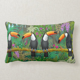 Tropical Toucan Birds Accent Pillow