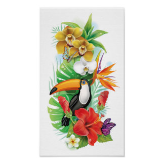 Tropical Toucan Collage (left) Poster