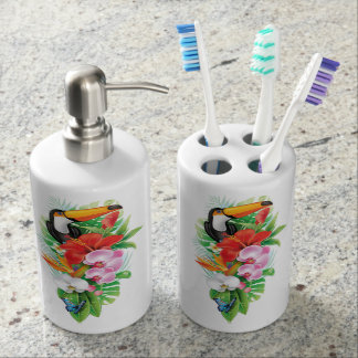 Tropical Toucan Collage (right) Bath Set