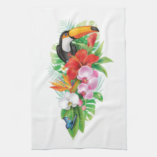 Tropical Toucan Collage (right) Kitchen Towel