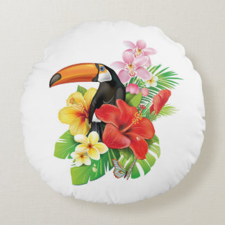 Tropical Toucan Collage Round Pillow