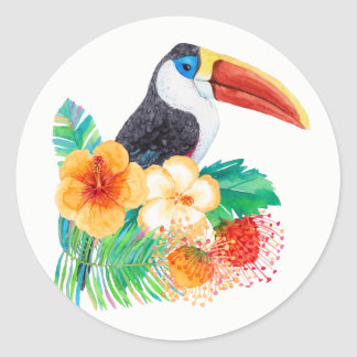 Tropical Toucan Watercolor Classic Round Sticker