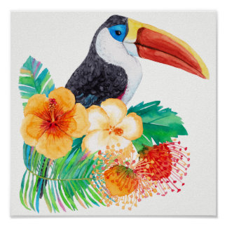 Tropical Toucan Watercolor Floral Poster